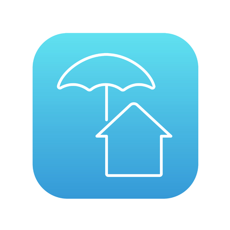 belay: House under umbrella line icon for web, mobile and infographics. Vector white icon on the blue gradient square with rounded corners isolated on white background.