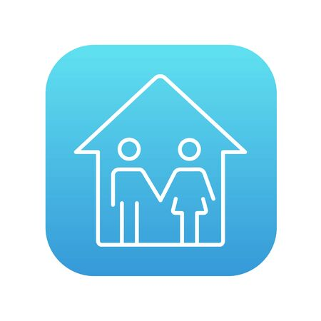 Family house line icon for web, mobile and infographics. Vector white icon on the blue gradient square with rounded corners isolated on white background. 矢量图像