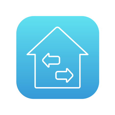 resale: Property resale line icon for web, mobile and infographics. Vector white icon on the blue gradient square with rounded corners isolated on white background.