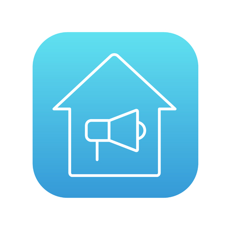 House fire alarm line icon for web, mobile and infographics. Vector white icon on the blue gradient square with rounded corners isolated on white background.