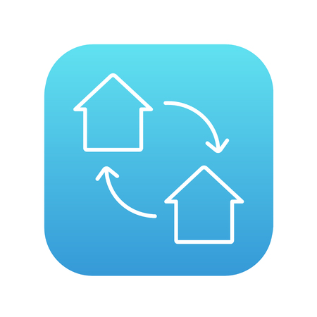 house exchange: House exchange line icon for web, mobile and infographics. Vector white icon on the blue gradient square with rounded corners isolated on white background.