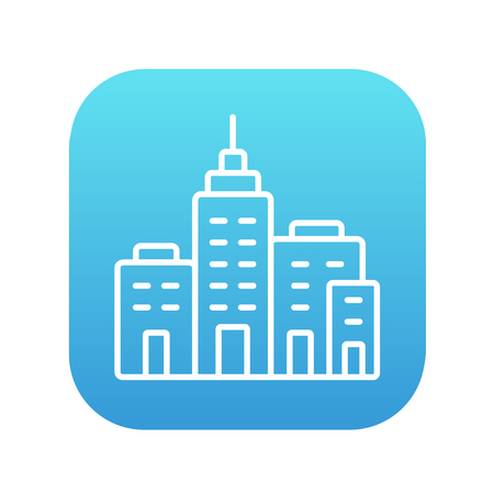 multi storey: Residential buildings line icon for web, mobile and infographics. Vector white icon on the blue gradient square with rounded corners isolated on white background. Illustration