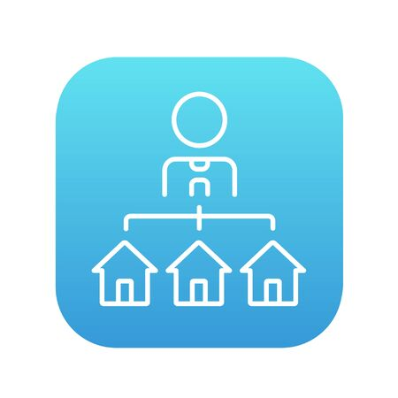 Real estate agent with three houses line icon for web, mobile and infographics. Vector white icon on the blue gradient square with rounded corners isolated on white background. Illustration