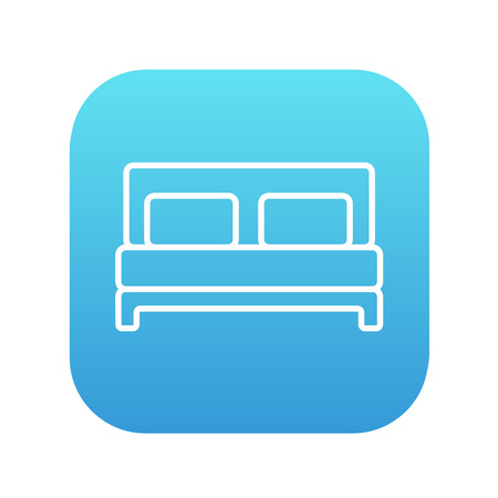 headboard: Double bed line icon for web, mobile and infographics. Vector white icon on the blue gradient square with rounded corners isolated on white background. Illustration