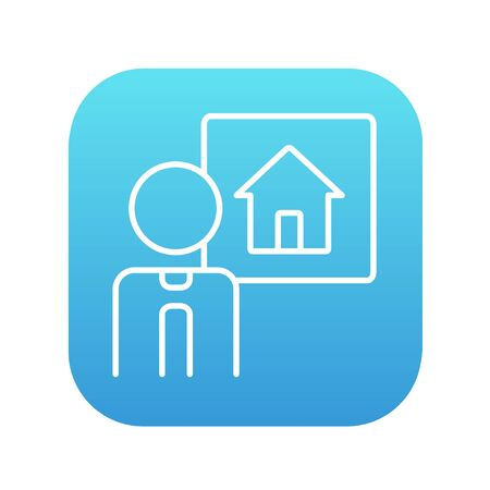 possession: Real estate agent line icon for web, mobile and infographics. Vector white icon on the blue gradient square with rounded corners isolated on white background.