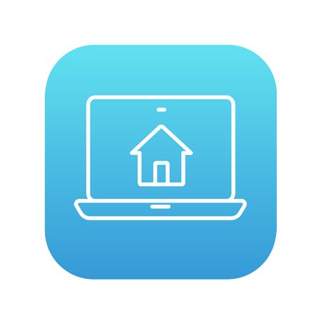 modern house: Smart house technology line icon for web, mobile and infographics. Vector white icon on the blue gradient square with rounded corners isolated on white background.
