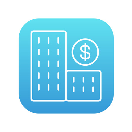 condominium: Condominium with dollar symbol line icon for web, mobile and infographics. Vector white icon on the blue gradient square with rounded corners isolated on white background.