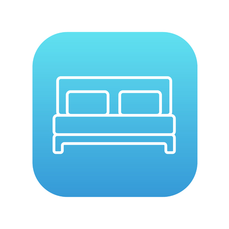 Double bed line icon for web, mobile and infographics. Vector white icon on the blue gradient square with rounded corners isolated on white background. Illustration