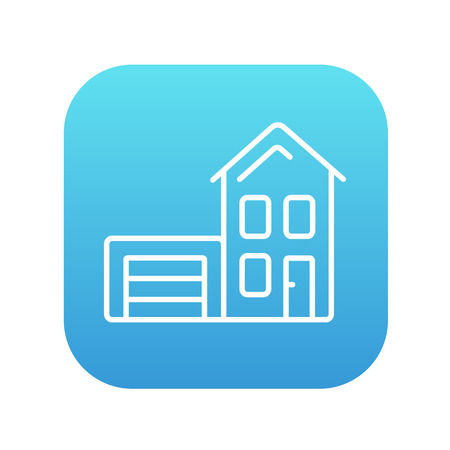 House with garage line icon for web, mobile and infographics. Vector white icon on the blue gradient square with rounded corners isolated on white background. Illustration