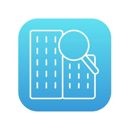 condominium: Condominium and magnifying glass line icon for web, mobile and infographics. Vector white icon on the blue gradient square with rounded corners isolated on white background. Illustration