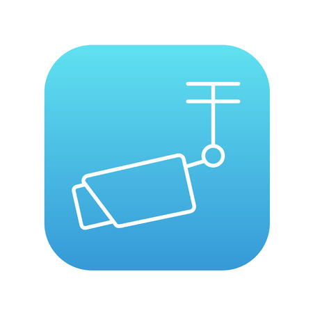 Outdoor surveillance camera line icon for web, mobile and infographics. Vector white icon on the blue gradient square with rounded corners isolated on white background. Illustration