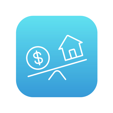 weigher: House and dollar symbol on scales line icon for web, mobile and infographics. Vector white icon on the blue gradient square with rounded corners isolated on white background. Illustration