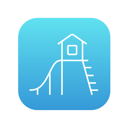 playhouse: Playhouse with slide line icon for web, mobile and infographics. Vector white icon on the blue gradient square with rounded corners isolated on white background.