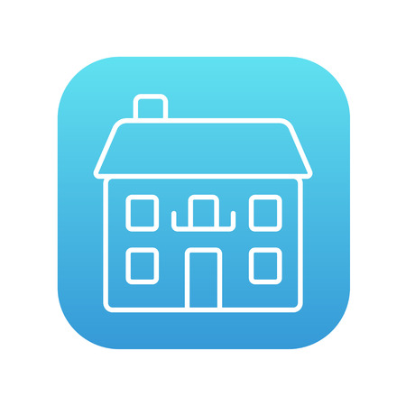 storey: Two storey detached house line icon for web, mobile and infographics. Vector white icon on the blue gradient square with rounded corners isolated on white background.
