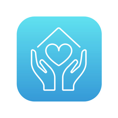 hands holding house: Hands holding house symbol with heart shape line icon for web, mobile and infographics. Vector white icon on the blue gradient square with rounded corners isolated on white background.