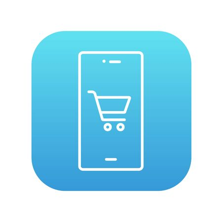technology transaction: Mobile phone with shopping cart on a screen line icon for web, mobile and infographics. Vector white icon on the blue gradient square with rounded corners isolated on white background.