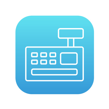 Cash register machine line icon for web, mobile and infographics. Vector white icon on the blue gradient square with rounded corners isolated on white background.