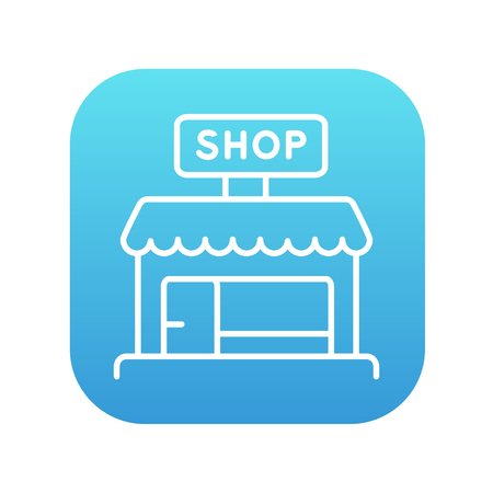 awnings: Shop line icon for web, mobile and infographics. Vector white icon on the blue gradient square with rounded corners isolated on white background. Illustration
