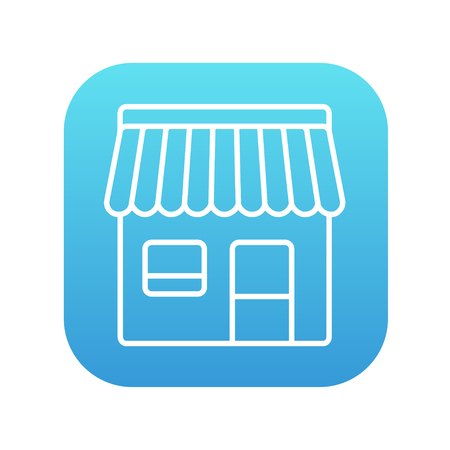 Shop line icon for web, mobile and infographics. Vector white icon on the blue gradient square with rounded corners isolated on white background. Illustration