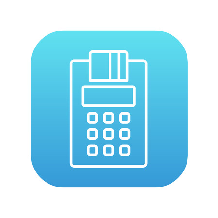 Cash register line icon for web, mobile and infographics. Vector white icon on the blue gradient square with rounded corners isolated on white background. Vettoriali