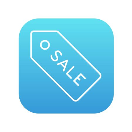 selloff: Sale tag line icon for web, mobile and infographics. Vector white icon on the blue gradient square with rounded corners isolated on white background. Illustration