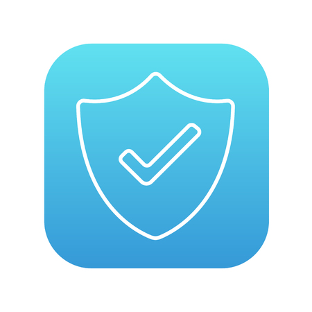 confirmed: Quality is confirmed sign line icon for web, mobile and infographics. Vector white icon on the blue gradient square with rounded corners isolated on white background.