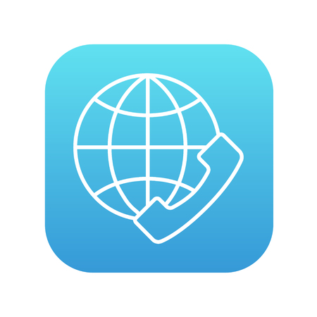 mobile headset: A globe with a headset line icon for web, mobile and infographics. Vector white icon on the blue gradient square with rounded corners isolated on white background.