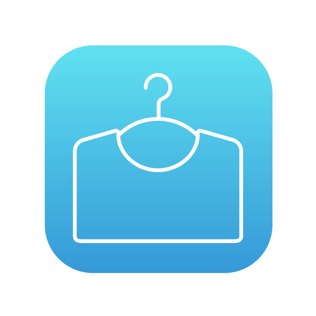 apparel: Sweater on hanger line icon for web, mobile and infographics. Vector white icon on the blue gradient square with rounded corners isolated on white background.
