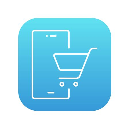 Mobile phone with shopping cart on a screen line icon for web, mobile and infographics. Vector white icon on the blue gradient square with rounded corners isolated on white background.