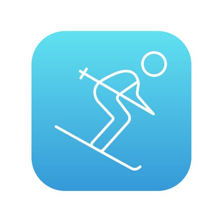 downhill skiing: Downhill skiing line icon for web, mobile and infographics. Vector white icon on the blue gradient square with rounded corners isolated on white background. Illustration