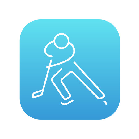 skating on thin ice: Hockey player line icon for web, mobile and infographics. Vector white icon on the blue gradient square with rounded corners isolated on white background.