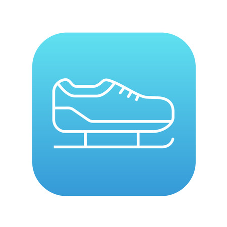 Skate line icon for web, mobile and infographics. Vector white icon on the blue gradient square with rounded corners isolated on white background.