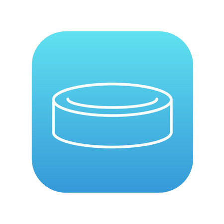 skating on thin ice: Hockey puck line icon for web, mobile and infographics. Vector white icon on the blue gradient square with rounded corners isolated on white background. Illustration