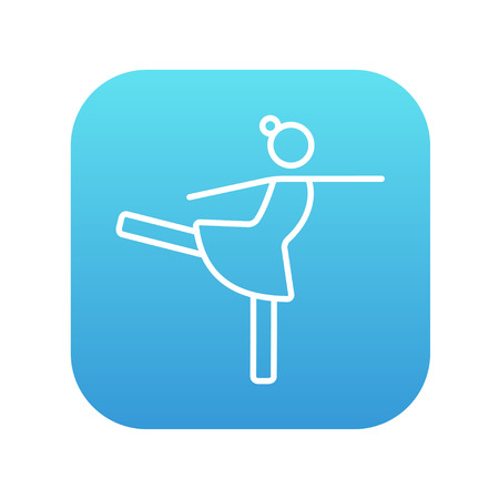 figure skater: Female figure skater line icon for web, mobile and infographics. Vector white icon on the blue gradient square with rounded corners isolated on white background. Illustration
