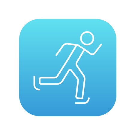skating on thin ice: Speed skating line icon for web, mobile and infographics. Vector white icon on the blue gradient square with rounded corners isolated on white background.