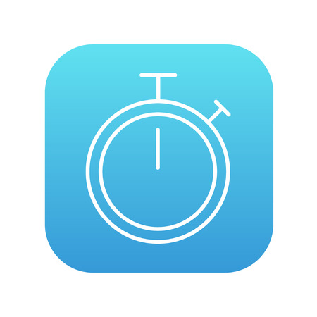 Stopwatch line icon for web, mobile and infographics. Vector white icon on the blue gradient square with rounded corners isolated on white background. Imagens - 49738717