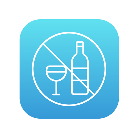 spirituous: No alcohol sign line icon for web, mobile and infographics. Vector white icon on the blue gradient square with rounded corners isolated on white background.