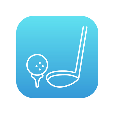 putter: Golf ball and putter line icon for web, mobile and infographics. Vector white icon on the blue gradient square with rounded corners isolated on white background. Illustration