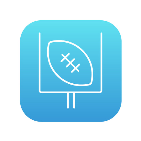 Gate and ball for rugby line icon for web, mobile and infographics. Vector white icon on the blue gradient square with rounded corners isolated on white background.