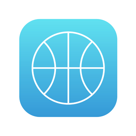 Basketball ball line icon for web, mobile and infographics. Vector white icon on the blue gradient square with rounded corners isolated on white background. 向量圖像