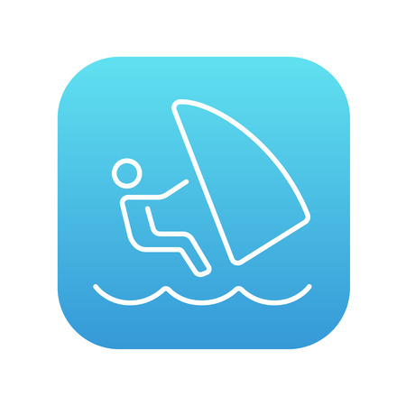 wind surfing: Wind surfing line icon for web, mobile and infographics. Vector white icon on the blue gradient square with rounded corners isolated on white background.