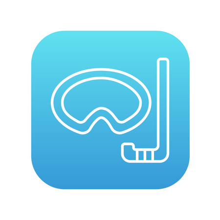 Mask and snorkel line icon for web, mobile and infographics. Vector white icon on the blue gradient square with rounded corners isolated on white background.