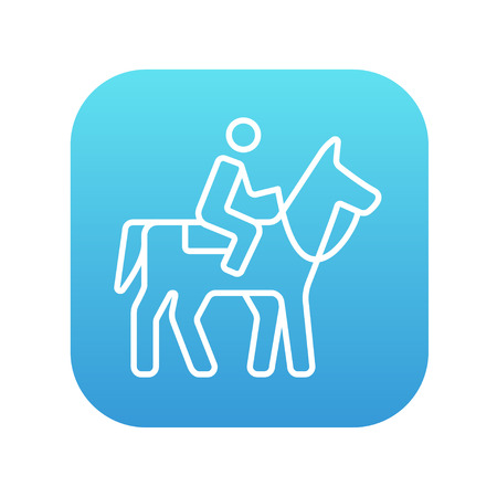 Horse riding line icon for web, mobile and infographics. Vector white icon on the blue gradient square with rounded corners isolated on white background.