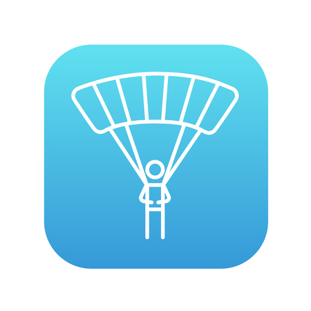 airplay: Skydiving line icon for web, mobile and infographics. Vector white icon on the blue gradient square with rounded corners isolated on white background.