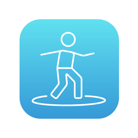 male surfer: Male surfer riding on surfboard line icon for web, mobile and infographics. Vector white icon on the blue gradient square with rounded corners isolated on white background.