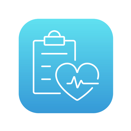 heartbeat line: Heartbeat record line icon for web, mobile and infographics. Vector white icon on the blue gradient square with rounded corners isolated on white background.