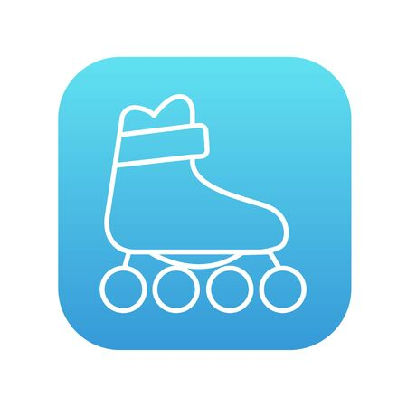 blue roller: Roller skate line icon for web, mobile and infographics. Vector white icon on the blue gradient square with rounded corners isolated on white background.
