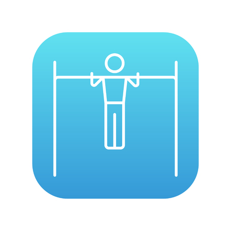 acrobat gymnast: Gymnast exercising on the bar line icon for web, mobile and infographics. Vector white icon on the blue gradient square with rounded corners isolated on white background.