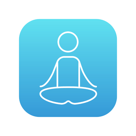 A man meditating in lotus pose line icon for web, mobile and infographics. Vector white icon on the blue gradient square with rounded corners isolated on white background. Illustration