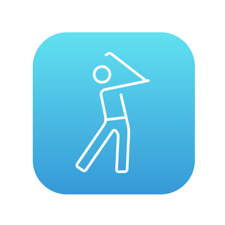 Golfer line icon for web, mobile and infographics. Vector white icon on the blue gradient square with rounded corners isolated on white background.